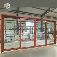 solid wood aluminum door with mahogany color painting good view effect villas use aluminum wood