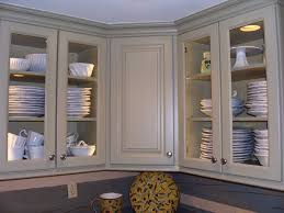 Kitchen Cabinets Shelves Curved Glass Kitchen Cabinet Shelves With Light Brown Wooden Frame