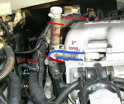 fixing gm s 3 4l frigging heat problem route 66 hot rod high hose lengths indicated and the blue lines indicate the original coolant hose path cut the hose at the top of the bend where the red line indicates