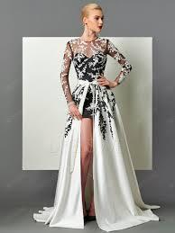A Line Long Sleeve Applique Long Evening Dress With Detachable