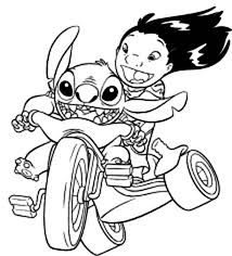 Small Picture Lilo Riding Bike with Stitch in Lilo Stitch Coloring Page