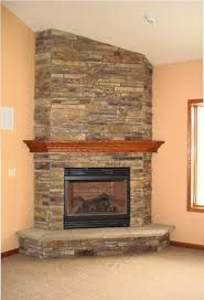 Here is a corner frieplace with stone.