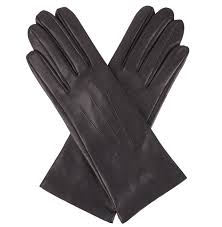 dents las silk lined black leather gloves