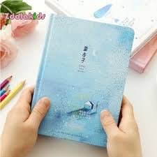 beautiful color pages notebook little blue house diary book korea stationery supplies