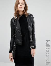 vero moda tall stud faux leather biker jacket black women jackets bester vero moda london vero moda jackets jabong free and fast