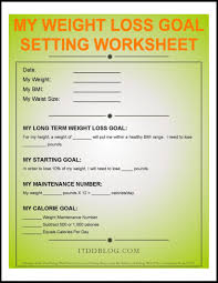 Weight Loss Worksheets My Weight Loss Goal Setting Worksheet Free Pdf Download