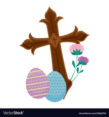 Cross Art Design Wooden Catholic Cross With Eggs Of Easter