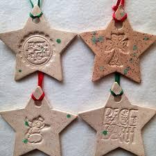Set of 4 Star Christmas Ornaments Handmade ceramic stamped pottery christmas  decoration gift Christmas tree decor