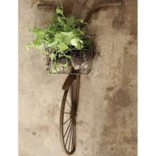 rusty iron bicycle wall basket on metal bike with basket wall decor with rusty iron bicycle wall basket a cottage in the city