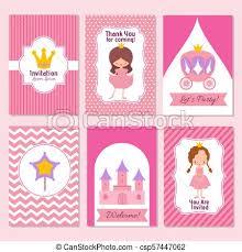 celebration invite child happy birthday and princess party pink invitation vector template