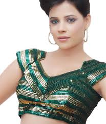 Designer Blouse Online Shopping With Price Samyakk Shimmery Green Designer Blouse Buy Samyakk