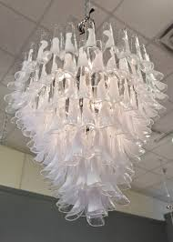 charming murano crystal and opaline glass chandelier by mazzega for at venetian style all h17 x