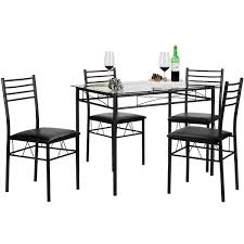 vecelo glass dining table set with 4 chairs kitchen table set black silver