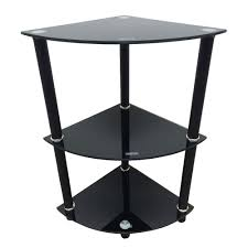 Bookcase Table 3 Tier Glass Side End Table Stand Home Display Shelf Corner
