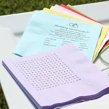 custom personalized napkins. custom printed wedding word search puzzle cocktail napkins with answers personalized i