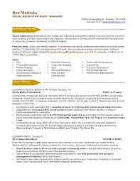 New Media Specialist Sample Resume Stunning Social Media Marketing Resume