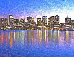 skyline painting unique boston skyline by night painting by rachel niedermayer