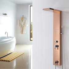 golden bathroom shower column faucet wall: stainless steel body massage jets rainfall shower panel tower tub faucet spout rose golden wall mounted shower panels massage and jets