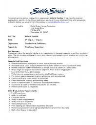 Material Handler Resume Skills Warehouse Material Handler Resume