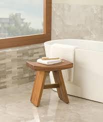 Image of: Teak Shower Stool Design
