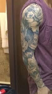 Full Lion Tattoo Sleeve With Roses And Skull Tatuaggio Tatuaggi