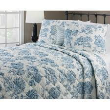 delectably yours decor calais blue toile 4 pc queen quilt set by victor mill