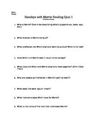 best tuesdays morrie images tuesdays  this is a great comprehension quiz for early in the book tuesdays morrie