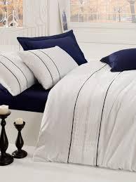 alone dark blue premium satin double quilt cover set 129ctn3265 dark blue white