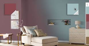wall paint colors. Living Room Wall Painted With Burgundy On The Left Changing To A Light Blue  Color Paint Colors L