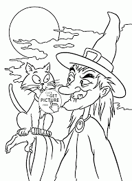 Halloween Witch And Black Cat Coloring
