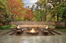 in ground fire pit ideas with simple outdoor patio furniture