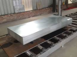 many galvanized steel sheets piled on the steel panel in the warehouse