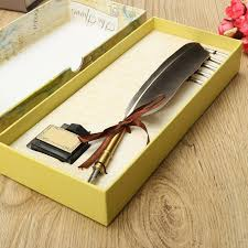2019 new arrival antique quill feather dip pen writing ink set stationery gift box with 5 nib wedding gift quill pen fountain from mudanflower