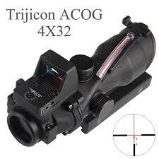 Tactical <b>Hunting Rifle Scope Optic</b> Sight <b>Airsoft</b> Green Red Fiber ...