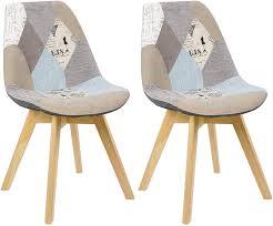 2er Set Esszimmerstühle Aus Holz Mit Leinenbezug Designer Modell Lisa