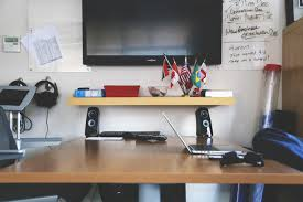 laptop desk computer creative technology office business television tv furniture room modern home office classroom startup