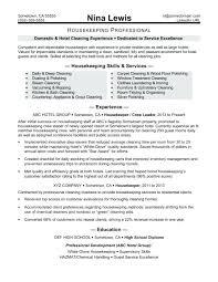 Supervisor Objective For Resume resume Housekeeping Job Description Resume 64