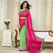 Today Its in #latest #trend #Half_Half #Style. Contrast #Color #Combination  of BRIGHT #Green #geometrical #Print on white back-ground & plain BLOOD  #Red at ...