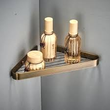 antique bronze bathroom corner shelves 2 layer solid copper wall shelf shampoo storage accessories pipe