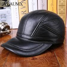 <b>Wuaumx</b> Cowskin Men's Baseball Caps Hat EarFlap Autumn Winter ...