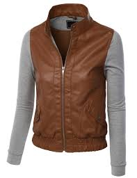 le3no womens faux leather zip up moto biker jacket with hoo