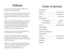 sample of obituary how to write a funeral program obituary template sample