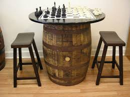 com vintage whiskey barrel table black top w chess board chess pieces 2 bar stools kitchen dining