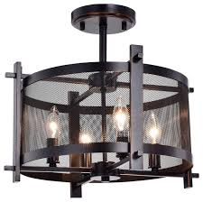 aludra 4 light oil rubbed bronze metal mesh shade semi flush mount chandelier