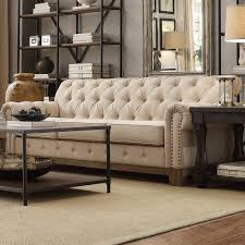 Greenwich Tufted Scroll Arm Nailhead Beige Chesterfield Sofa by iNSPIRE Q  Artisan by iNSPIRE Q