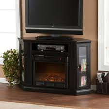 black corner tv stand with electric fireplace and glass bookcase doors stylish corner tv stands
