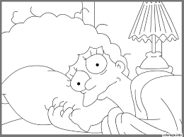 Coloriage The Simpsons Marge In Bed Dessin