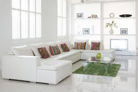 Green Carpet On White Ceramic Flooring Tiles In Modern Apartment - Livingroom tiles