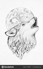 эскизы волка воющего на луну тату волк воющий на луну эскиз волк