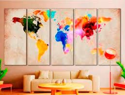 creative office wall art. 4 Creative World Map Canvas Prints Wall Art For Large Home Or Office Decoration A